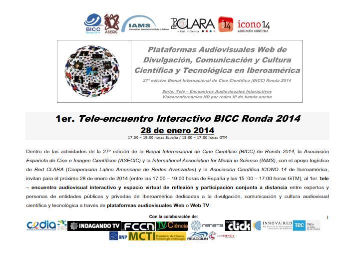 1er. Tele-encuentro Interactivo BICC Ronda 2014